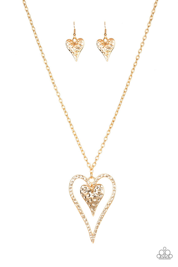 Paparazzi Hardened Hearts - Gold - Hammered Texture Heart - Necklace and matching Earrings