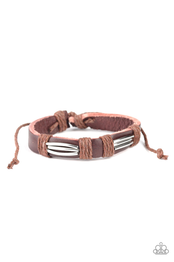 Paparazzi Industrial Interstate - Brown - Leather Band - Sliding Knot Bracelet