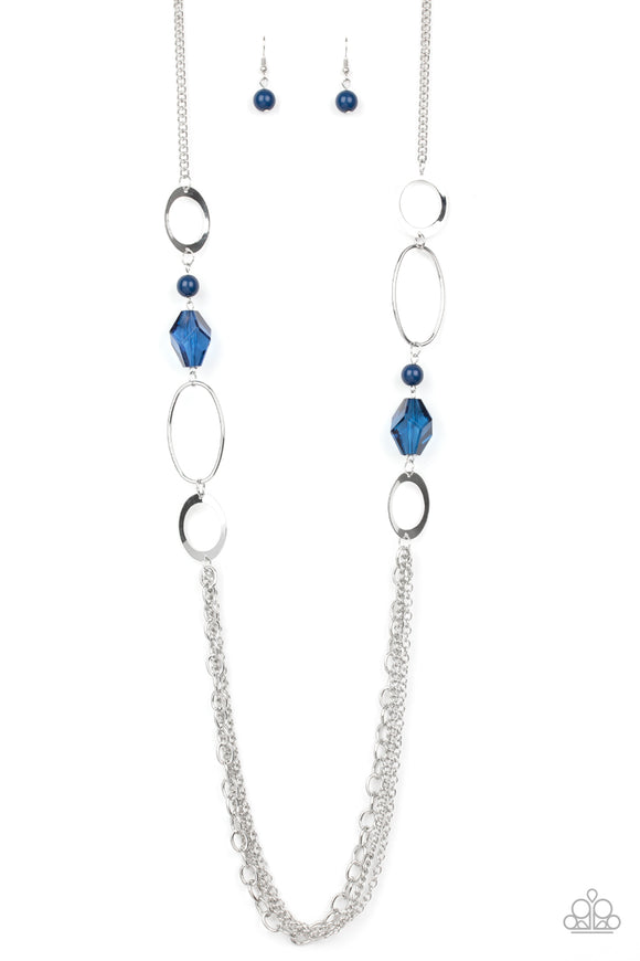 Paparazzi Jewel Jubilee - Blue Beads - Silver Hoops Chains Necklace and matching Earrings - Lauren's Bling $5.00 Paparazzi Jewelry Boutique