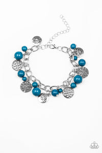 Paparazzi Lotus Lagoon - Blue Beads - Silver Flower Charms - Bold Silver Chain Bracelet - Lauren's Bling $5.00 Paparazzi Jewelry Boutique