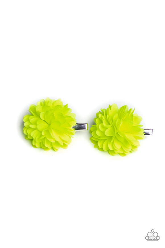 Paparazzi Neatly Neon - Yellow Chiffon Petals - Pair of hair Clips