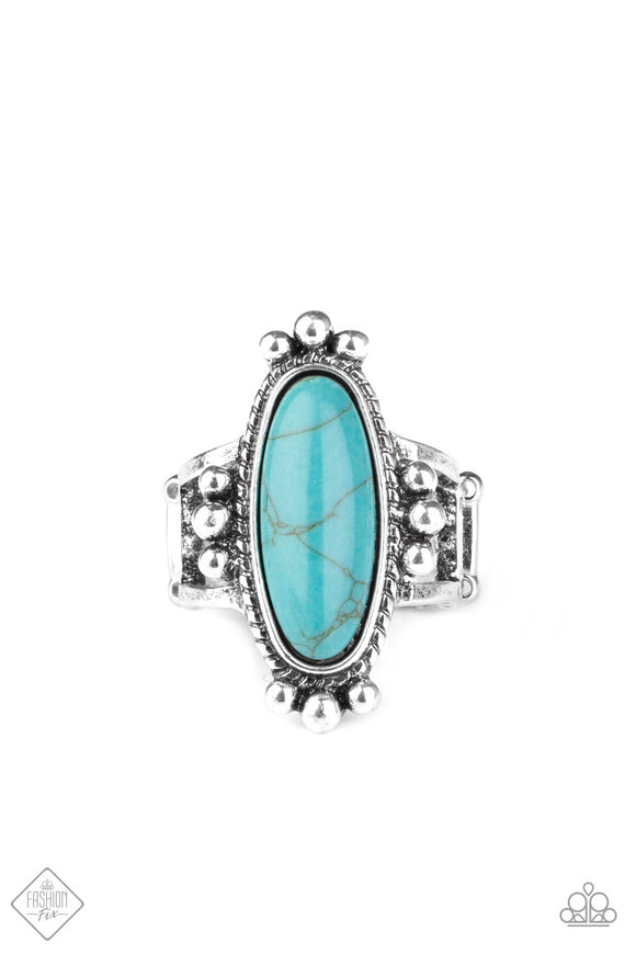 Paparazzi Pioneer Paradise - Blue - Ring - Trend Blend / Fashion Fix Exclusive - October 2020