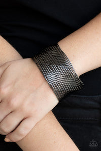 Paparazzi Retro Revamp - Black - Wire Weaves - Edgy Cuff Bracelet - Lauren's Bling $5.00 Paparazzi Jewelry Boutique