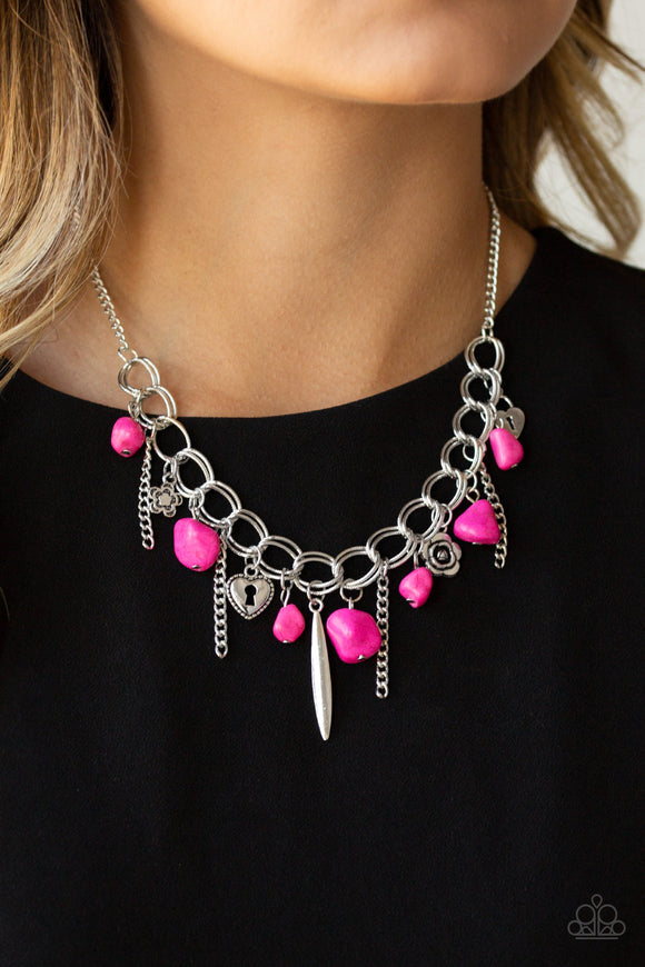 Paparazzi Southern Sweetheart - Pink Rock Beads - Silver Chains - Heart, Rose, Lock Charms - Necklace & Earrings - Lauren's Bling $5.00 Paparazzi Jewelry Boutique