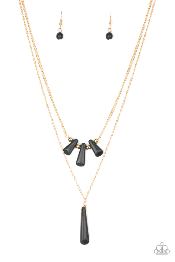 Paparazzi Basic Groundwork - Black Stones - Gold Necklace and matching Earrings
