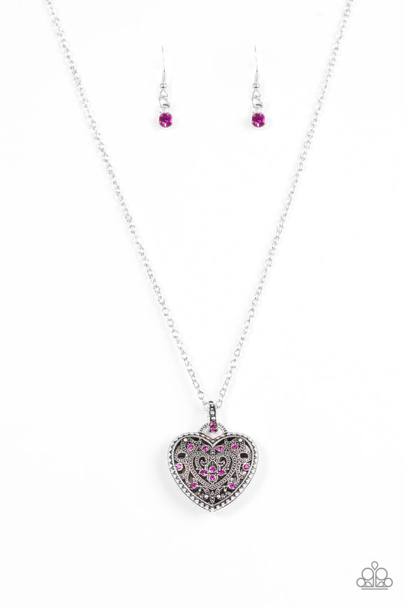 Paparazzi Charmingly Casanova - Pink Rhinestones - Silver Heart Pendant - Necklace - Lauren's Bling $5.00 Paparazzi Jewelry Boutique