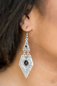 Paparazzi Drifting Dunes - Black - Beads - Tribal Inspired Silver Earrings - Lauren's Bling $5.00 Paparazzi Jewelry Boutique
