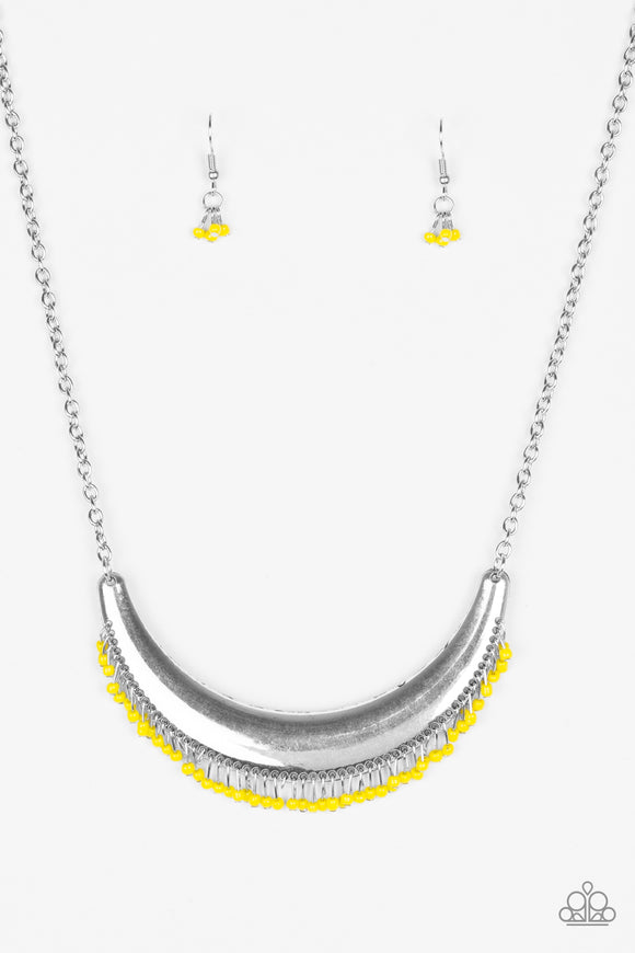 Paparazzi Fringe Out - Yellow - Seed Beads - Bold Silver Crescent Moon - Necklace and matching Earrings - Lauren's Bling $5.00 Paparazzi Jewelry Boutique