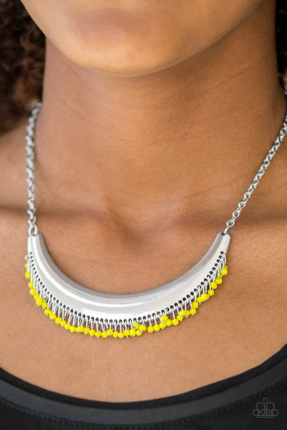 Paparazzi Fringe Out - Yellow - Seed Beads - Bold Silver Crescent Moon - Necklace & Earrings - Lauren's Bling $5.00 Paparazzi Jewelry Boutique