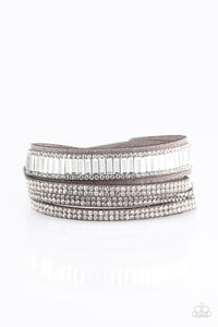 Paparazzi Just In SHOWTIME - Silver - Double Wrap Rhinestone Bracelet - Lauren's Bling $5.00 Paparazzi Jewelry Boutique