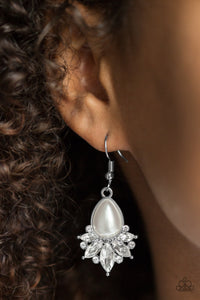 Paparazzi Regal Reputation - White Pearly Bead - White Rhinestones - Silver Teardrop Earrings - Lauren's Bling $5.00 Paparazzi Jewelry Boutique