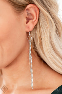 Paparazzi 7 Days a SLEEK - White Rhinestones - Tassel Earrings - Fashion Fix Exclusive December 2019 - Lauren's Bling $5.00 Paparazzi Jewelry Boutique