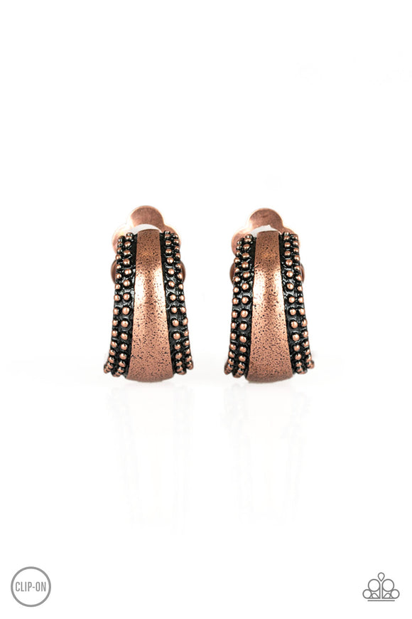 Paparazzi Bells Ringing - Copper - Clip On Earrings - Lauren's Bling $5.00 Paparazzi Jewelry Boutique