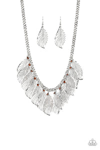 Paparazzi Feathery Foliage - Brown - Topaz Rhinestones - Silver Feathers - Necklace and matching Earrings - Lauren's Bling $5.00 Paparazzi Jewelry Boutique