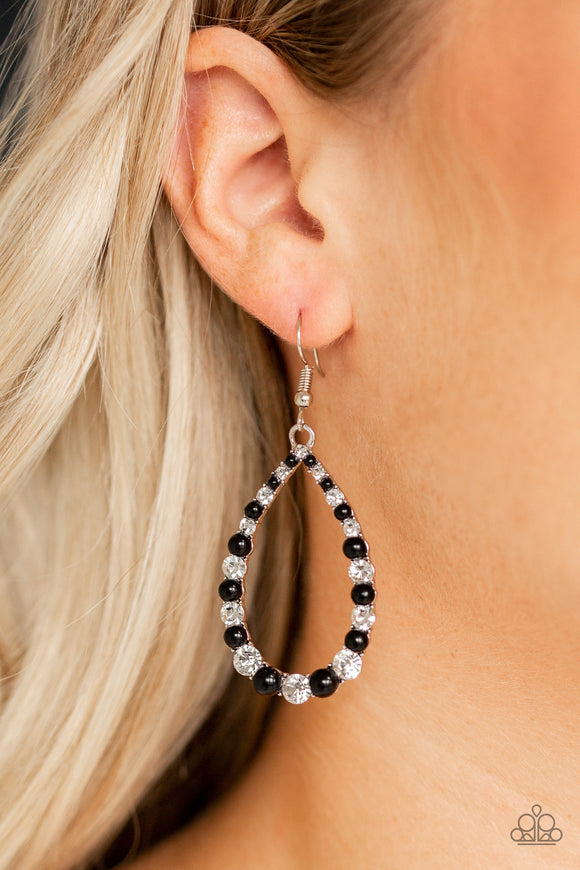 Paparazzi Gala Go-Getter - Black Beads - White Rhinestones - Teardrop Earrings - Lauren's Bling $5.00 Paparazzi Jewelry Boutique