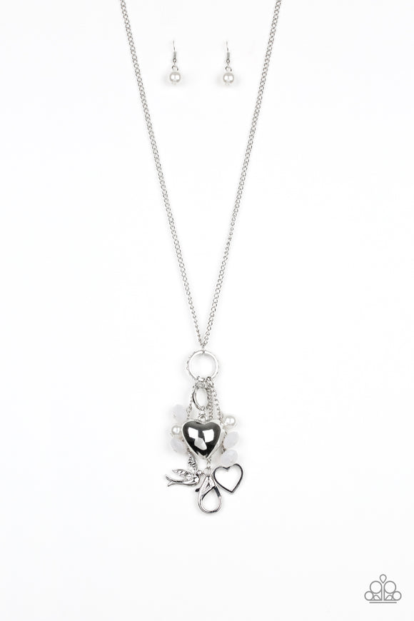 Paparazzi I Will Fly - White Pearls - Silver Bird, Heart Charms - Necklace and matching Earrings