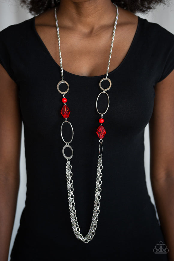 Paparazzi Jewel Jubilee - Red Crystal Beads - Silver Chains Necklace and matching Earrings - Lauren's Bling $5.00 Paparazzi Jewelry Boutique