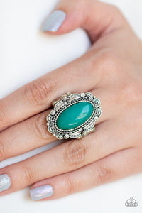 Paparazzi Malibu Majestic - Green Bead - Scalloped Silver Frame - Ring - Lauren's Bling $5.00 Paparazzi Jewelry Boutique