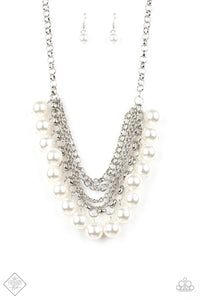 Paparazzi One-Way WALL STREET White Pearls - Silver Chains Necklace - Fashion Fix Exclusive September 2019