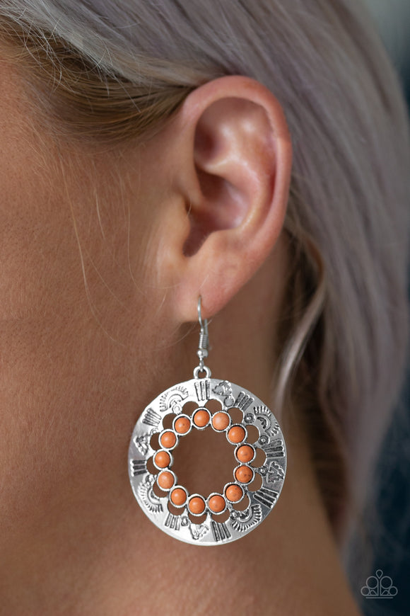 Paparazzi Organically Omega - Orange - Stone - Silver Hoop Earrings - Lauren's Bling $5.00 Paparazzi Jewelry Boutique