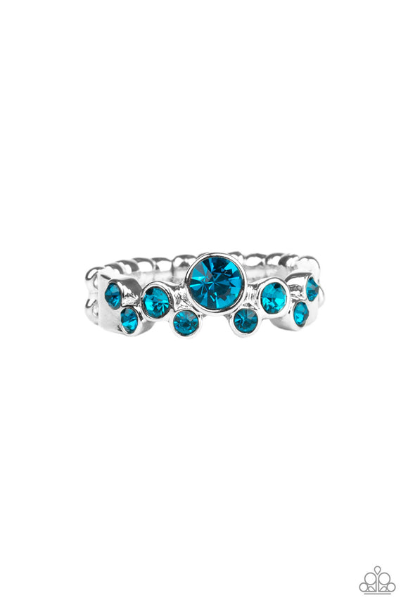 Paparazzi Sparkle Spree - Blue - Rhinestones - Silver Dainty Band Ring
