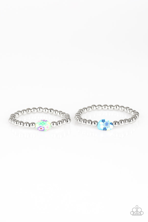 Paparazzi Starlet Shimmer Bracelets - 10 - Silver with Flower Bead Accents