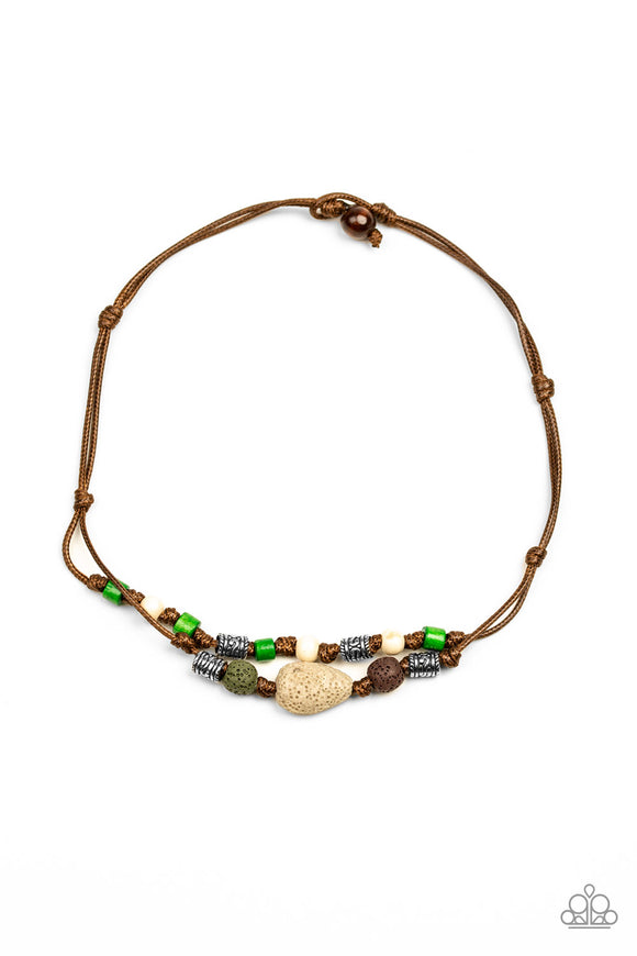 Paparazzi Tiki Trek - Green - Wooden and Lava Stones - Brown Cords - Necklace