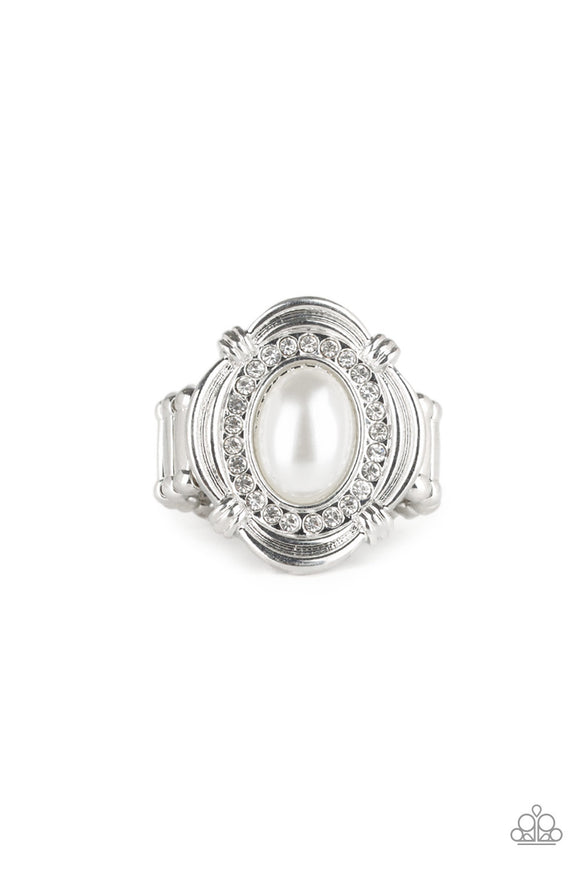 Paparazzi Titanic Twinkle - White Pearly Bead - Rhinestones - Silver Ring