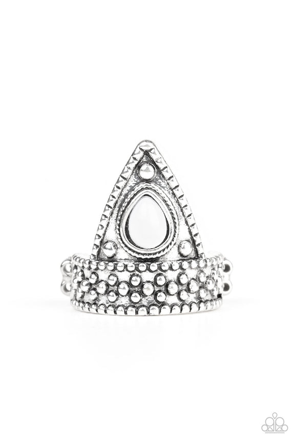 Paparazzi Tropical Escapade - White Bead - Triangular Frame Studded Silver - Ring