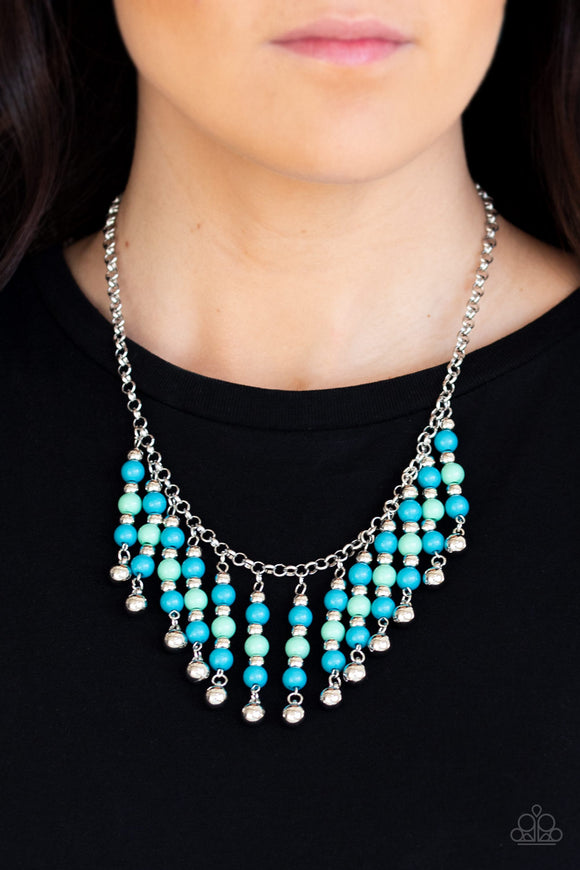 Paparazzi Your SUNDAES Best - Blue - Green and Silver Beads - Necklace & Earrings