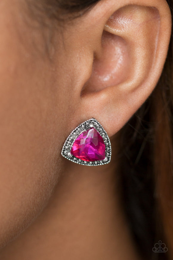 Paparazzi Daringly Duchess - Pink Gem - Silver Studded - Glamorous Post Earrings - Lauren's Bling $5.00 Paparazzi Jewelry Boutique
