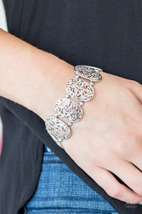 Paparazzi Everyday Elegance - Silver - High Sheen Vine Filigree - Stretchy Bracelet - Lauren's Bling $5.00 Paparazzi Jewelry Boutique