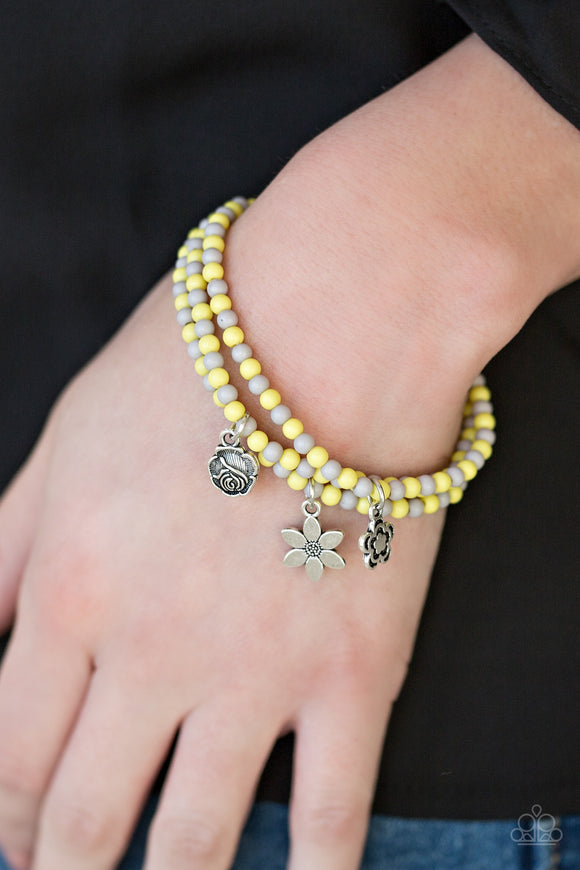 Paparazzi Rooftop Gardens - Yellow - Gray Beads - Set of 3 Stretchy Band Bracelets - Lauren's Bling $5.00 Paparazzi Jewelry Boutique
