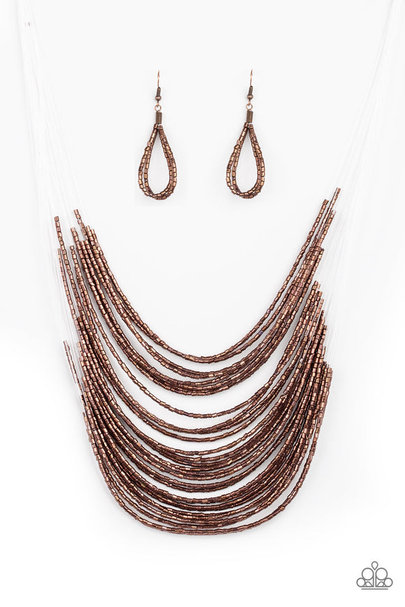 Paparazzi Catwalk Queen - Copper - Seed Beads - Necklace and matching Earrings