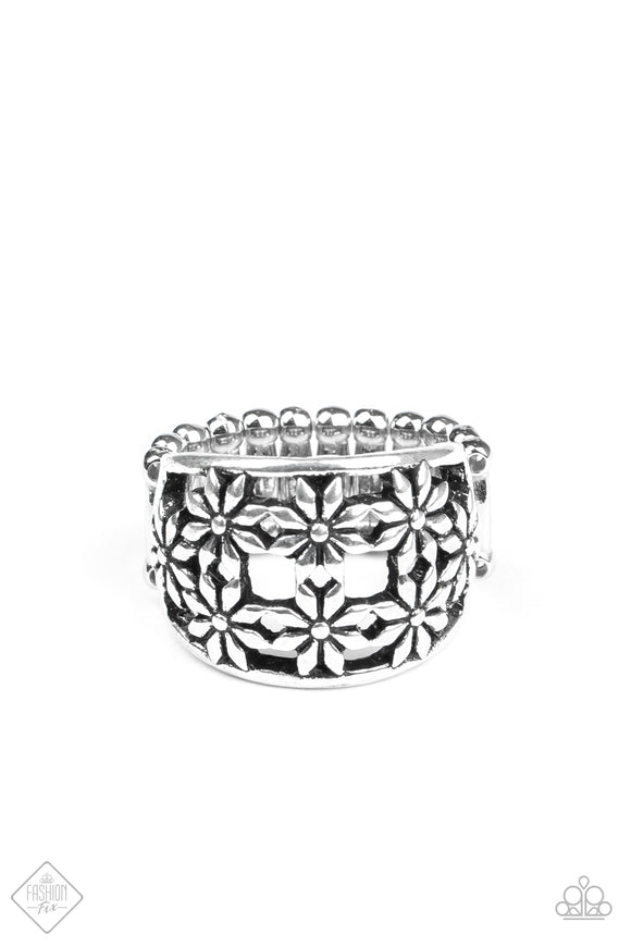 Paparazzi Crazy About Daisies - Silver - Ring - Trend Blend / Fashion Fix Exclusive - August 2020 - Lauren's Bling $5.00 Paparazzi Jewelry Boutique
