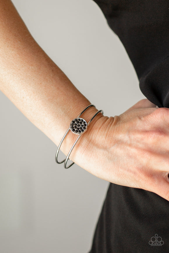 Paparazzi Dial Up The Dazzle - Black Rhinestones - Silver Cuff Bracelet - Lauren's Bling $5.00 Paparazzi Jewelry Boutique