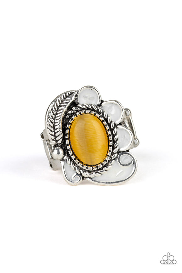 Paparazzi Fairytale Magic - Yellow - Cat's Eye Stone - Silver Feather - White Petals - Silver Ring
