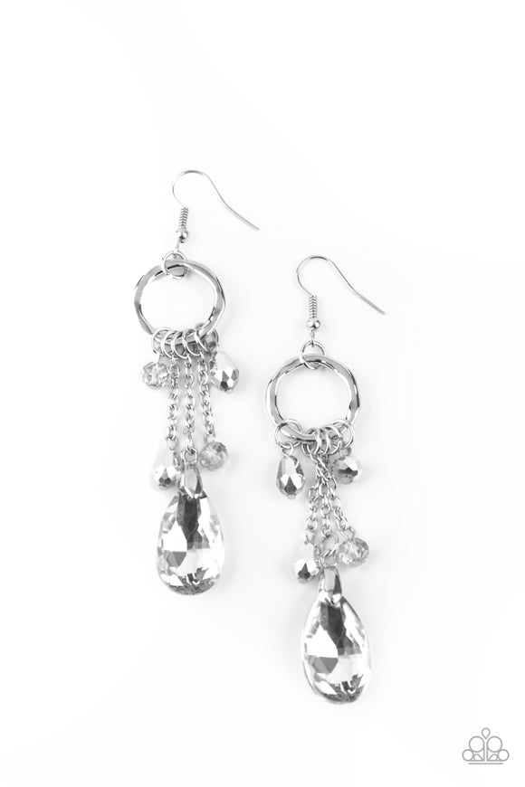 Paparazzi Glammed Up Goddess - Silver - Earrings