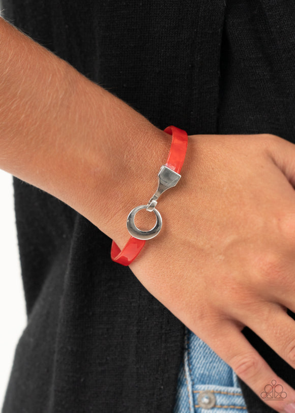 Paparazzi HAUTE Button Topic - Red - Hinged Bracelet - Lauren's Bling $5.00 Paparazzi Jewelry Boutique