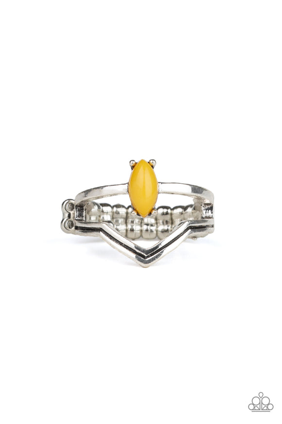 Paparazzi Panama Peak - Yellow Oval Bead - Silver Ring - Lauren's Bling $5.00 Paparazzi Jewelry Boutique
