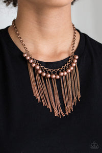 Paparazzi Powerhouse Prowl - Copper Beads - Fringe Necklace & Earrings - Lauren's Bling $5.00 Paparazzi Jewelry Boutique