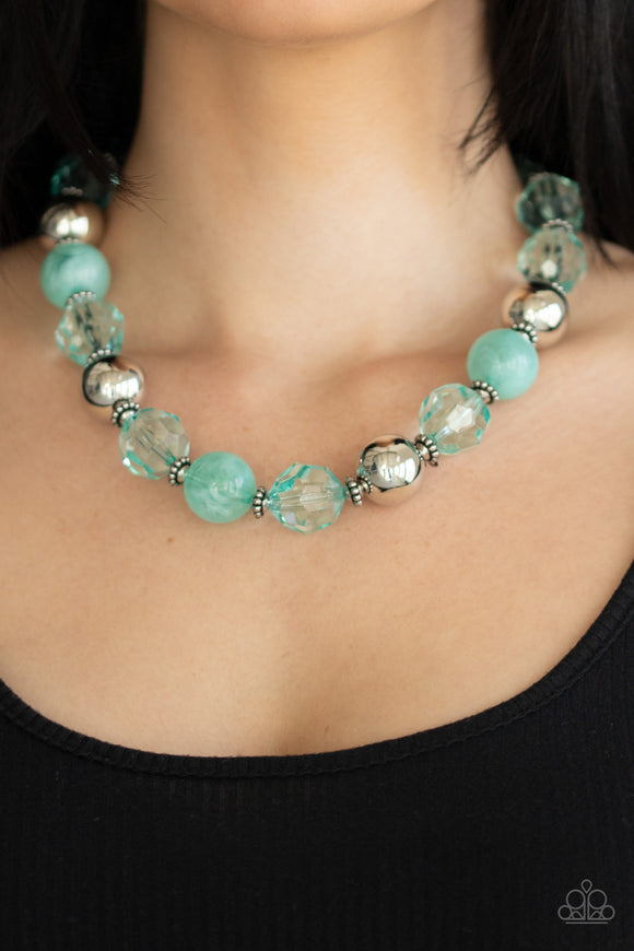 Paparazzi Very Voluminous - Green - Biscay Beads - Silver Accents - Necklace & Earrings - Lauren's Bling $5.00 Paparazzi Jewelry Boutique