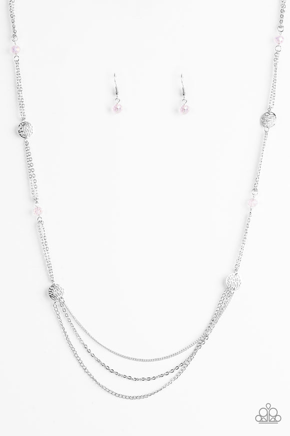 Paparazzi Beach Breeze - Pink Crystal Beads - Silver Chains Necklace and matching Earrings - Lauren's Bling $5.00 Paparazzi Jewelry Boutique