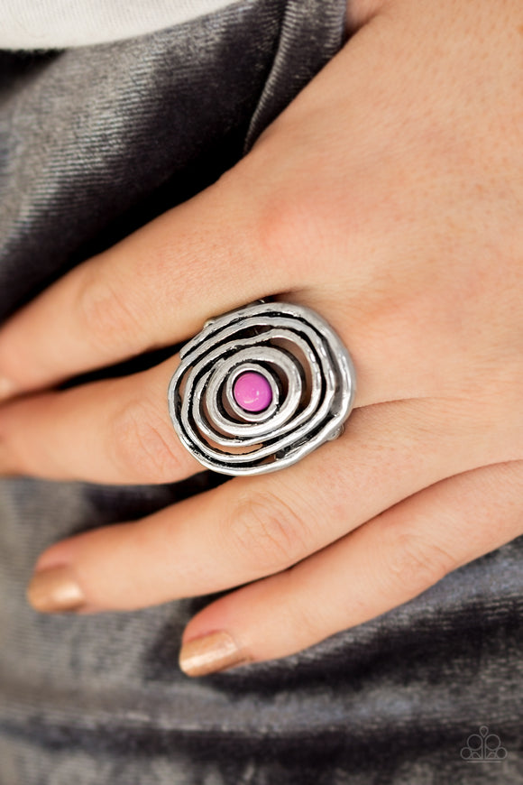 Paparazzi Colorfully Chaotic - Purple Bead - Hammered Silver - Ring - Lauren's Bling $5.00 Paparazzi Jewelry Boutique