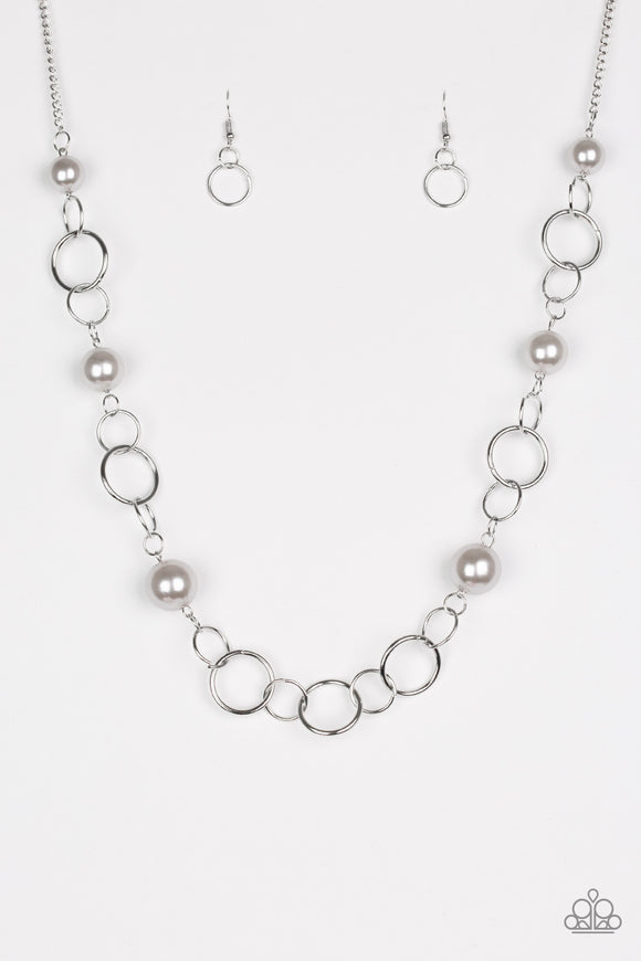 Paparazzi Darling Duchess- Silver Pearls - Necklace and matching Earrings - Lauren's Bling $5.00 Paparazzi Jewelry Boutique