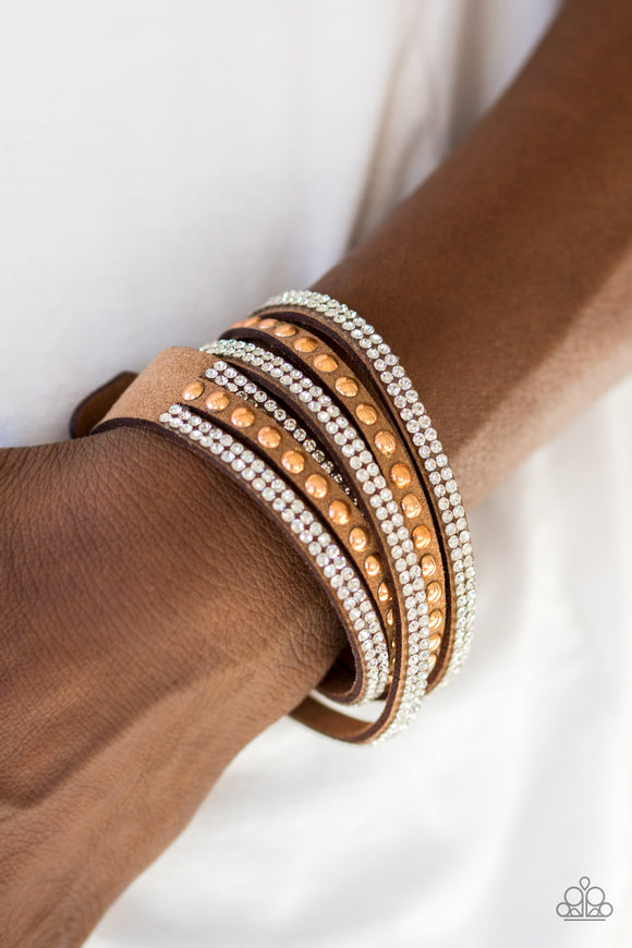Paparazzi I BOLD You So! - Copper - White Rhinestones - Double Wrap Bracelet - Lauren's Bling $5.00 Paparazzi Jewelry Boutique