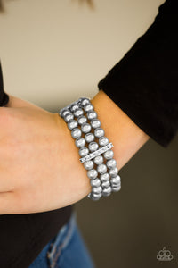 Paparazzi Royal Wedding - Silver Pearls - White Rhinestones - Stretchy Band Bracelet - Lauren's Bling $5.00 Paparazzi Jewelry Boutique