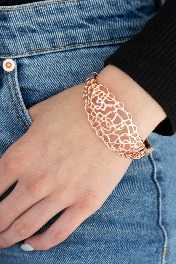 Paparazzi Airy Asymmetry - Rose Gold - Hinged Bracelet