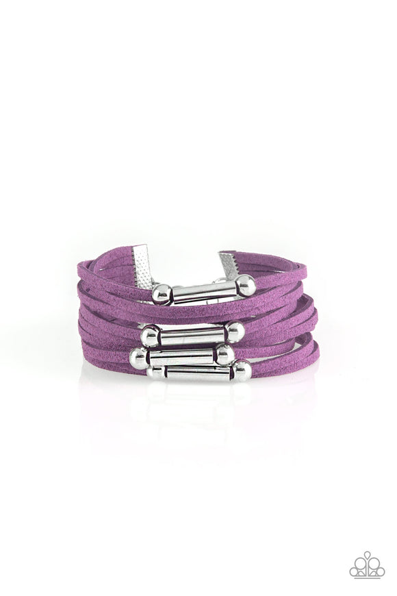 Paparazzi Back To BACKPACKER - Purple - Silver and Gunmetal Accents - Suede Bracelet