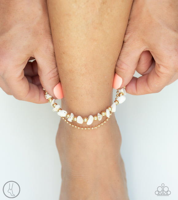 Paparazzi Beach Expedition - Gold Ball Chain - White Rocks - Ankle Bracelet - Anklet